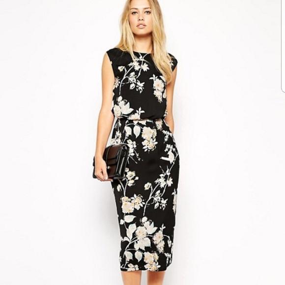 cc28c66499826 ASOS Dresses | Pencil Dress In Bird And Floral Print | Poshmark